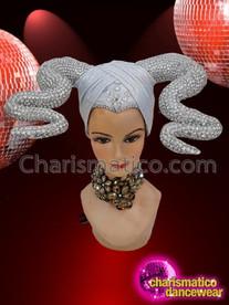 CHARISMATICO Silver Elegant Brilliant Spectacular White Diva Horn Headdress