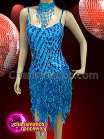 CHARISMATICO Aqua blue sequinned dress with fringed necklace and ruffled skirt