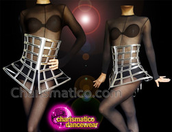 CHARISMATICO Metallic silver corset with crosshatch tie at the rear