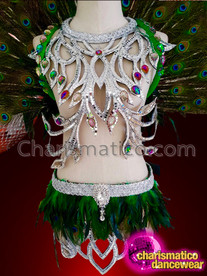 CHARISMATICO Green peacock feathered costume and headdress with silver sequins and fuchsia crystals