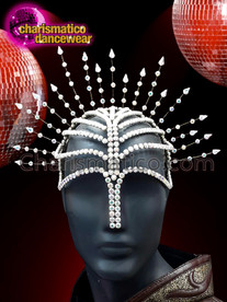 CHARISMATICO Silver crystallized diva headdress with large silver crystal design