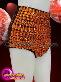 CHARISMATICO Black sequinned diva shorts with large orange crystals