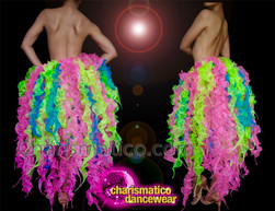 CHARISMATICO Multi coloured ruffled diva skirt in green, pink and blue colours