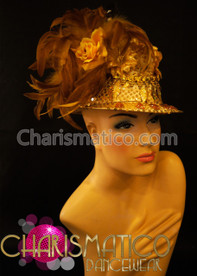 Cinema starlet crystal Feather Diva cap embrace retro Al Capone hat