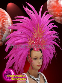CHARISMATICO Bright fuchsia golden and silver sequinned showgirl headdress