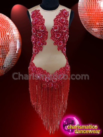 CHARISMATICO Red beaded fringed Latin show time diva dress