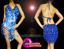 CHARISMATICO Sequinned royal blue diva show time leotard with fringes