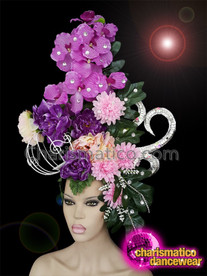 CHARISMATICO Elegant purple floral headdress with silver crown and cage