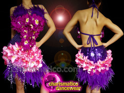 CHARISMATICO Halter neck purple and pink floral fringed diva dress