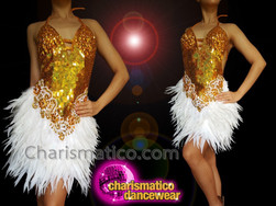 CHARISMATICO Golden sequinned white feathered halter necked diva dress