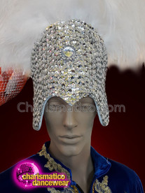 CHARISMATICO White ostrich feathered silver sequinned headdress
