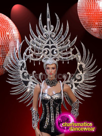 CHARISMATICO Silver sequinned spiked black diva headdress and wing
