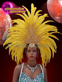 CHARISMATICO Yellow feather silver gold sequinned show time diva headdress