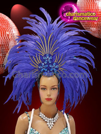 CHARISMATICO Royal blue feather diva drag queen show girl headdress