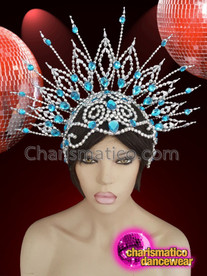 CHARISMATICO Silver blue beaded showgirl drag queen diva headdress