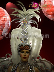 The Spectacular Snow queen of the boa' crown & collar Costume set