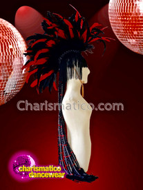 CHARISMATICO Red black drag queen diva show girl feather headdress