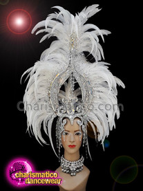 CHARISMATICO White feather crystallised diva show girl ruffle headdress
