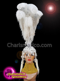 CHARISMATICO White feathered silver sequinned ostrich diva show girl headdress