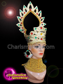 CHARISMATICO Gold diva Egyptian red blue crystallised show girl headdress