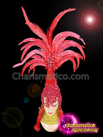 CHARISMATICO Red ostrich feathered show time diva silver sequinned headdress