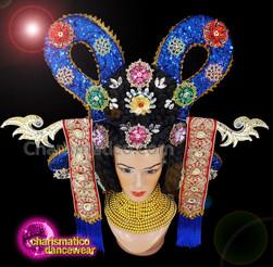 CHARISMATICO Royal blue sequinned diva show girl Japanese headdress