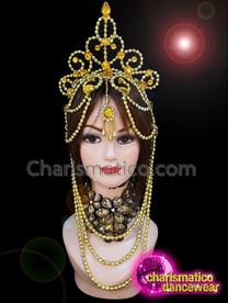 CHARISMATICO Golden beaded crystallised sequinned diva show girl queen headdress
