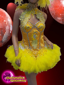 CHARISMATICO Yellow showgirl feathered ruffled silver sequinned diva show girl dress