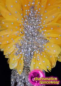 CHARISMATICO Silver beaded yellow ostrich diva show girl headdress