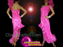 CHARISMATICO Pink tear drop Latin sequinned diva show girl dance dress