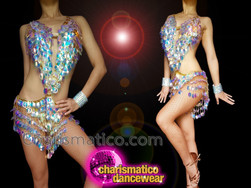 CHARISMATICO Large sequinned diva iridescent sexy silver fringed leotard