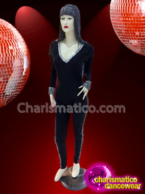 CHARISMATICO Diva black silver sequinned full sleeved show girl cat suit