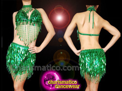 CHARISMATICO Emerald green teardrop sequinned diva show girl top and skirt
