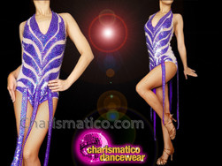 CHARISMATICO Purple silver sequinned long fringed diva show girl leotard