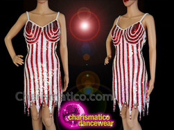 CHARISMATICO Silver and red sequinned fringed diva show girl dance dress