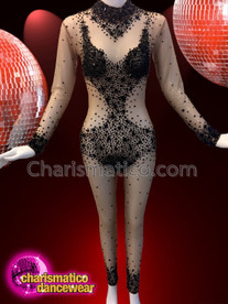 CHARISMATICO Sexy black crystallised diva show girl show time cat suit