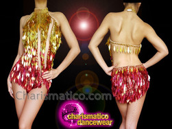 CHARISMATICO Gold red diamond sequinned halter neck diva leotard