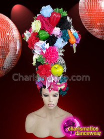 CHARISMATICO Multi-coloured floral vegetable diva show girl headdress