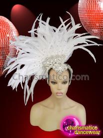 CHARISMATICO White feathered sequinned crystallised diva show girl headdress