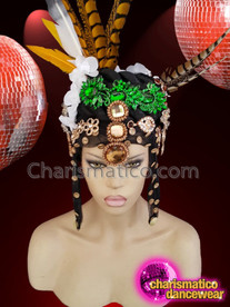 CHARISMATICO Crystallised feather jungle samba pheasant diva show girl headdress