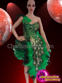 CHARISMATICO Green feathered peacock diva show girl dolly dress