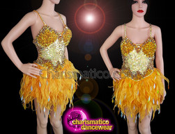 CHARISMATICO Gold diva sequinned ruffled dress with halter neck at back