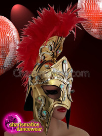 CHARISMATICO Gold gladiator warrior mask with red ruffled feather top