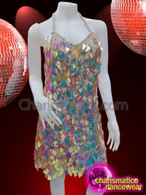 CHARISMATICO Multi-coloured diamond cut diva showgirl sequin dress with halter neck