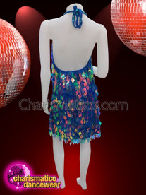 CHARISMATICO Blue diamond cut sequinned diva showgirl dress with halter neck