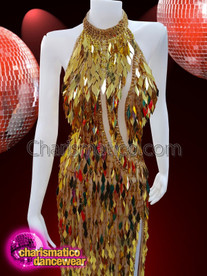 CHARISMATICO Gold coloured charismatic designer long dress for party wear