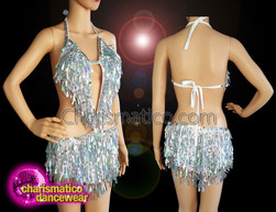CHARISMATICO Teardrop Fringed Silver Salsa dress with halter neck top