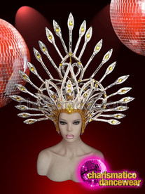 CHARISMATICO Drag queen gold diva headdress for cabaret style