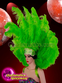 CHARISMATICO Bright pop green feathered ostrich headdress and backpack