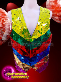 CHARISMATICO Glossy rainbow gay pride party style men's mirror vest